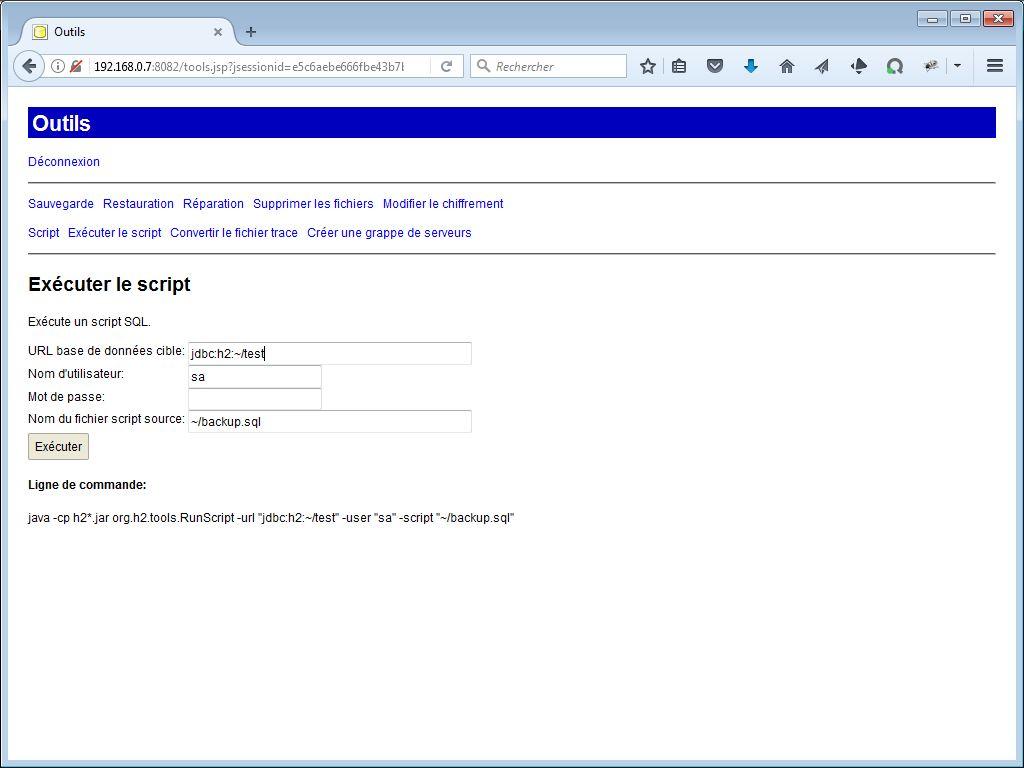 Exécution d'un script avec H2 Console - webeweb.fr : une autre vision du web