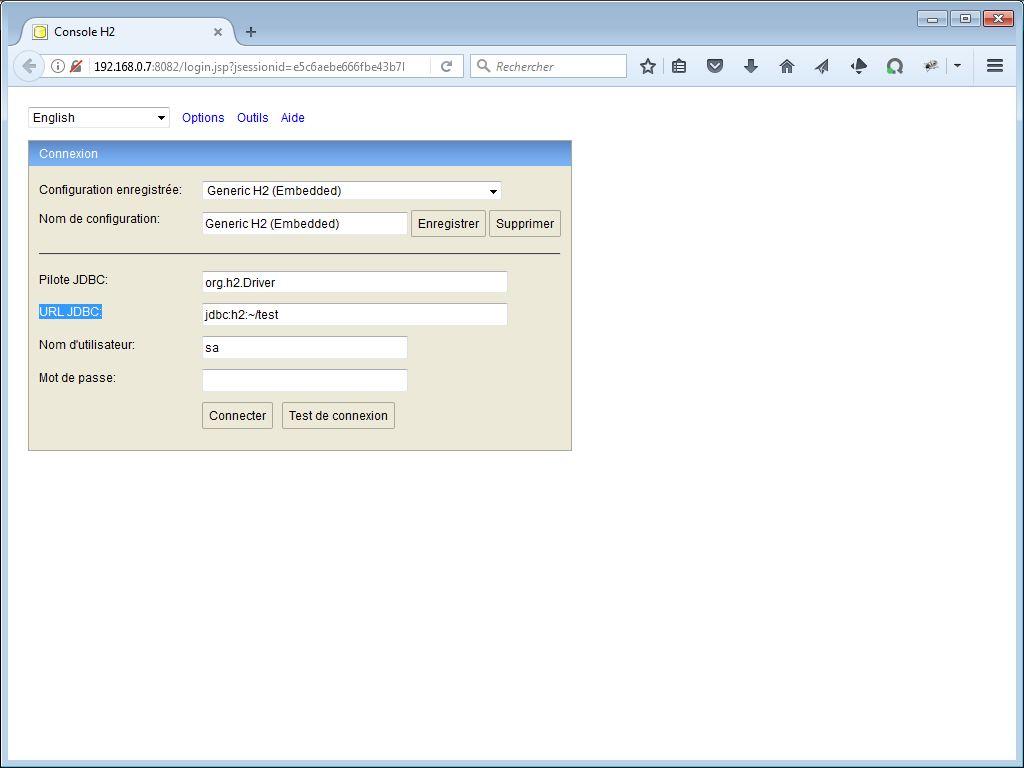 Page d'accueil de H2 Console - webeweb.fr : une autre vision du web