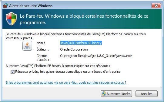 Alerte de sécurité Windows de H2 COnsle - webeweb.fr : une autre vision du web