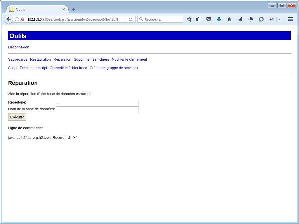 Réparation avec H2 Console - webeweb.fr : une autre vision du web