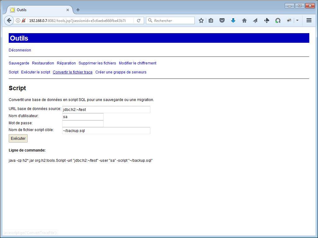 Sauvegarde avec H2 Console - webeweb.fr : une autre vision du web